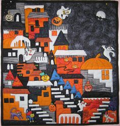 Happy Villages by Ruth McCormick.  Technique by Karen Eckmeier  at the Quilted LIzard