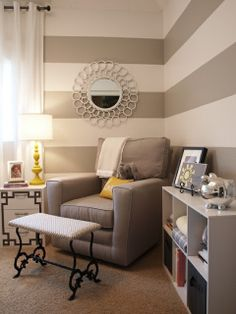 Like the stripes for my new room! I would want beige instead of gray Striped Walls, Gray Walls, Striped Room, Ideas Hogar, Nursery Inspiration, Nursery Ideas, Room Ideas, Wall Ideas, Decor Ideas