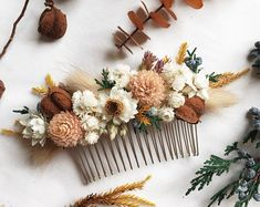 A sweet dried flower hair comb in shades of ivory, blush, rust, tan, and yellow with hints of greenery. Measures approximately 4 long. Made with real preserved and dried flowers to last months or years. Wedding Hair Flowers, Flowers In Hair, Wedding Bouquets, Boho Flowers, Flowers Garden, Exotic Flowers, Wedding Flower Hair, Rustic Wedding Hair, How To Dry Flowers