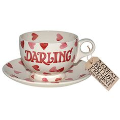 """Pink Hearts"" Pink Hearts Darling Breakfast Cup & Saucer at Emma Bridgewater"
