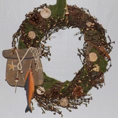 Fishing Man Cave Cabin Decor/Christmas Wreath by Full Circle Creations