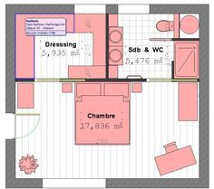 Parental Suite Plan With Bathroom And Dressing Room # 4 - Pla .- Parental Suite Plan With Bathroom And Dressing Room # 4 – Plan Parental Suite by lorraine - Master Bedroom Plans, Master Bedroom Layout, Master Bedroom Closet, Bedroom Floor Plans, Master Room, Bedroom Layouts, Home Bedroom, Bedroom Ideas, Closet Wall