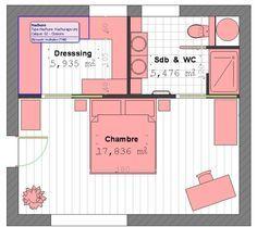 6 suites parentales aux salles de bains sublimes suite for Plan chambre parentale 20m2