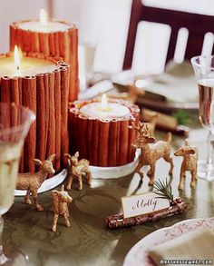 Glittered Deer and Cinnamon Candles Table Decorations for Thanksgiving Table Scape