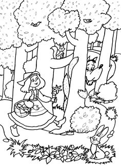 Coloring Books, Coloring Pages, Charles Perrault, Wolf, Rainy Day Activities, Red Riding Hood, Little Red, Nursery Rhymes, Hand Embroidery