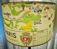 Paris map paper lamp shade funky tourist map by lightreading, $48.00