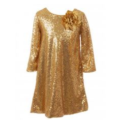 92a78ce5929 SophiasStyle · Christmas Dresses! Kids Dream Little Girls Gold Sequin Floral  Adorned Flower Girl Dress 4-6 Girls Christmas