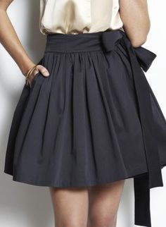 gathered skirt with bow on waistband
