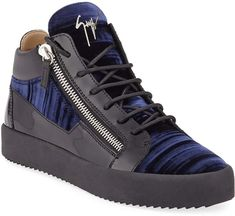 Giuseppe Zanotti Men's Velvet Mid-Top Zip Sneakers Leather Chain, Calf Leather, Patent Leather, Lv Shoes, Beautiful Shoes, Leather Sneakers, Giuseppe Zanotti, Ankle Strap, Versace