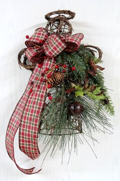 Primitive Christmas Angel Door Decor or Tree Topper -- Table Top Centerpiece, Grapevine Christmas Angle -- FREE SHIPPING
