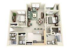 50 plans en 3D d'appartements et maisons