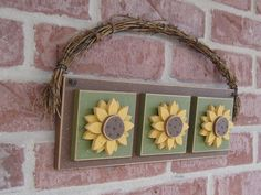 HANGING TRIPLE SUNFLOWER for wall, door hanging, Summer, Spring, Fall and home decor. $19.95, via Etsy.