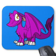 Any Color SD Furry Dragon w/ Blue Background Mousepad  #zazzle #artofganenek #cartoon #dragons #furry #anime #kawaii #mousepads