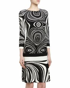 T7YQE Donna Morgan Swirl-Print Drop-Waist Shift Dress, Black/White