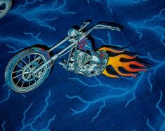 American Choppers Fabric by the Yard, Harley Davidson Honda Fussy Cut Crafting Quilting Sewing, Harley Décor ape Hanger Art Swing a leg over Hanging Quilts, Quilted Wall Hangings, Harley Davidson Fabric, Us Army Uniforms, American Chopper, Quilt Display, Ape Hangers, Printing Services, Rock And Roll