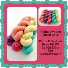 Rainbows and Pots of Gold Petite Collection Yellow And Brown, Orange Yellow, Pink Purple, Teal, Blue, Ribbon Yarn, Pot Of Gold, Red Riding Hood, Locs