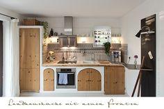 Küche im Landhausstil modernisieren - neue Haushaltsgeräte, Küchentüren und Innenauszüge