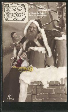 Santa Claus with Geschenken sitzt auf Dem Schornstein