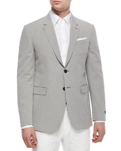 Seersucker Two-Button Suit Jacket, Gray/Ivory - Paul Smith