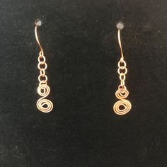 100% Handcrafted Copper Swirl Dangle Earrings.  Pure Copper, by MJDesigns4You on Etsy