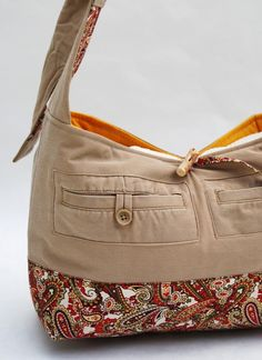 BAG: upcycled khaki bag - inspiration only; this one was sold on Etsy. Tote Purse, Tote Handbags, Purses And Handbags, Diy Sac, Denim Crafts, Diy Handbag, Recycled Denim, Denim Bag, Purse Patterns