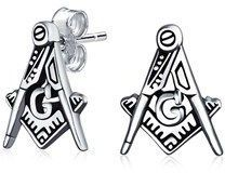 Bling Jewelry Square And Compass Freemason Stud Earrings 11mm.