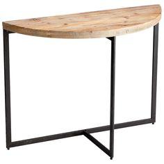 Taro Industrial Wood Iron Demilune Console Table | eBay