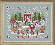 Welcome to our latest holiday SAL! A snowy, woodsy cute Christmas Stitch-A-Long! The final part just released!  When you join, you will get the entire chart as a single PDF. The cover sample is stitched over 2 on Dove Grey 32-ct linen (comparable to 16-ct). It would also work on beige,