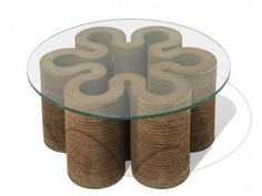 Frank Gehry Furniture Cardboard: Frank Gehry Furniture Cardboard With Round Table – Fortikur