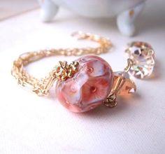 Coral Reef Lampwork Crystal Gold Filled Chain Bracelet