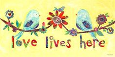 Love Lives Here - Love Birds Canvas Reproduction
