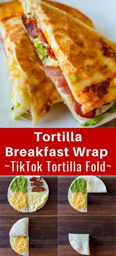 This Breakfast Tortilla Fold technique became a major trend of TikTok and it's a genius idea if you haven't tried it yet. It takes a regular Tortilla Breakfast Wrap to the next level. We love easy one-skillet breakfasts. This breakfast tortilla wrap is a meal in itself. This is a great (and EASY) recipe to have in your repertoire for busy and hurried mornings. Breakfast Tortilla, Breakfast Wraps, Breakfast Skillet, Breakfast Recipes, Salad Recipes, Cake Recipes, Dessert Recipes, Dinner Recipes, Crockpot Recipes