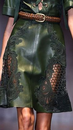 - Gucci Spring love the pattern and the combination of leather and lace Look Fashion, Fashion Details, Spring Fashion, High Fashion, Fashion Outfits, Womens Fashion, Fashion Design, Fashion Trends, Couture Details