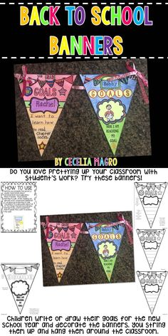 Children write or draw their goals for the new school year and decorate the banners. You string them up and hang them around the classroom. They serve as a great reminder for students, too! There are two different banners included. Banner two has a kindergarten, first, and second grade version.