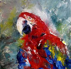 Parrot Painting Small Animal Portrait Bird Painting Gift For