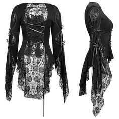 Sexy Black Lace Long Flare Sleeve Gothic Vampire Tunic Tops Women SKU-11409388