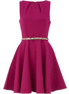 Pink flared belted dress, Dorothy Perkins