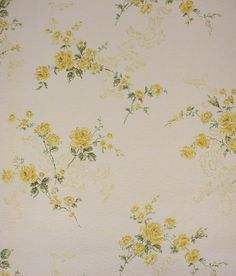 1960's Vintage Wallpaper Yellow Roses and Scrolls