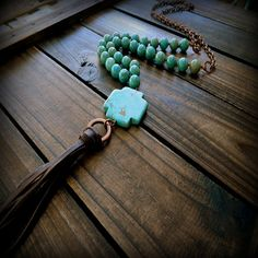Ranch Hand, Western Cowgirl Southwestern Boho Turquoise Cross Leather Tassel Long Lariat Necklace