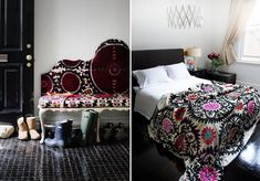 Black bed, classic white linen and great choice of graphic Suzani throw keep this room looking sharp