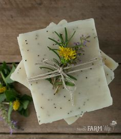 Dandelion Scrub Bar Soap Recipe - Dandelion flowers, which are wonderful for treating rough, dry skin, are infused into skin-softening olive oil, then combined with bubbly coconut and nourishing sunflower oil to make this soap.