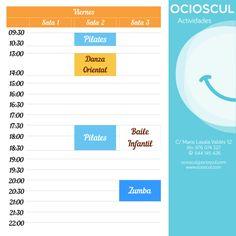 Actividades de hoy Viernes: 9h30' #Pilates 13h00' #DanzaOriental 17h30' #Pilates 20h00' #Zumba