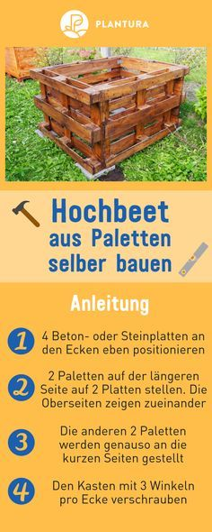 Hochbeet bauen: Anleitung zum selber bauen & Video Build a raised bed of pallets yourself: There are many ways to build a raised bed yourself. We show you how you can build a raised bed of pallets yourself step by step! More about Plantura. Building Raised Beds, Raised Garden Beds, Garden Pots, Vegetable Garden, Diy Jardin, Pallets Garden, Diy Garden Projects, Amazing Gardens, Garden Design