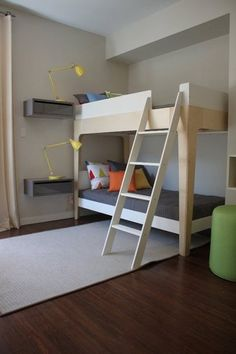 Bunk Bed With Floating Nightstands.