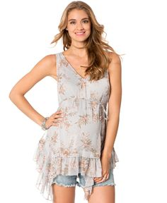 Jessica Simpson Maternity Floral-Print Belted Blouse