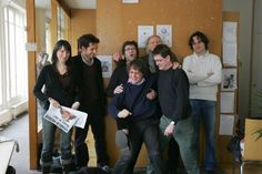Charlie Hebdo staff members including cartoonists Cabu (front L), Charb (front R), Tignous (rear L) and Honore (rear R) pose at the Paris offices of the satirical weekly on March 15, 2006 (AFP PHOTO JOEL SAGET)