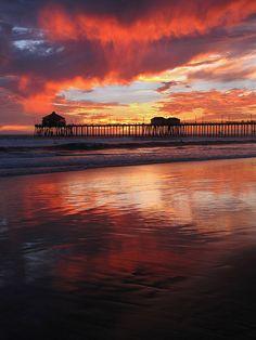 Sunset in Huntington Beach, California