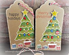 """Kraft Christmas Tree tags using Lawn Fawn """"Trim the Tree"""", Cranberry and Christmas Candy Cane Trendy Twine and Peachy Keen Squee Face Assortment."""
