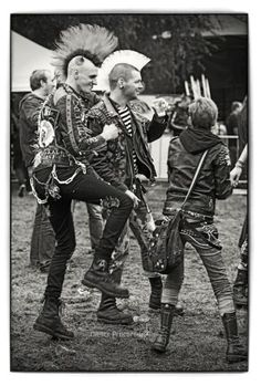 Two male punks and a female punk, mohawks-pin it from carden