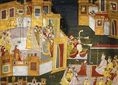 The wedding of Krishna, illustration from a Bhagavata Purana series, reminiscent of Purkhu, Kangra, circa 1800-15